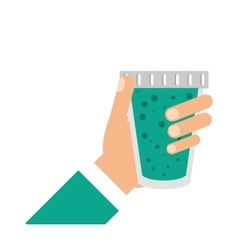 Juice hand glass drink design vector