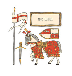 Knight horse and armor chivalry and crusade vector