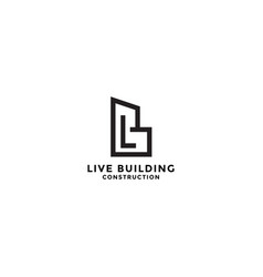 Letter lb for building construction logo design vector