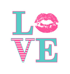 Love composition of pink and striped letters vector