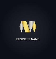 M initial shape gold logo vector