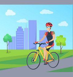Man in cycling clothing on bicycle vector