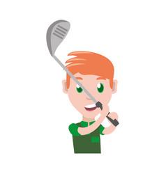 man playing golf cartoon vector image