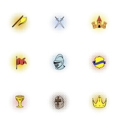 Medieval knight icons set pop-art style vector image