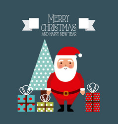 merry christmas and happy new year card santa and vector image