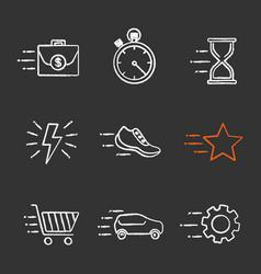 motion chalk icons set vector image