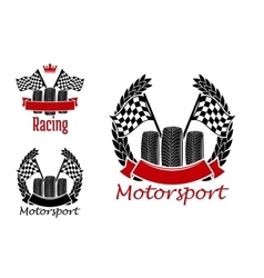 Motorsport competition icons with wheels and flags vector image