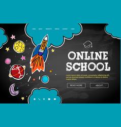 Online school web banner template doodle style vector