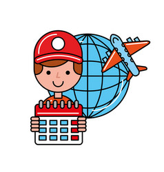operator calendar airplane world online shopping vector image