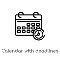 Outline calendar with deadlines icon isolated vector