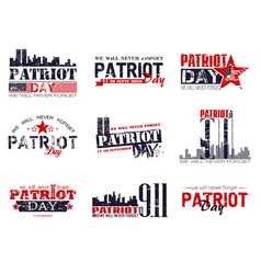 Patriot day lettering set vector