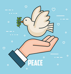 Peace hand holding dove and branch olive style vector