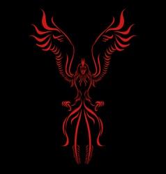 Phoenix flame bird silhouette vector