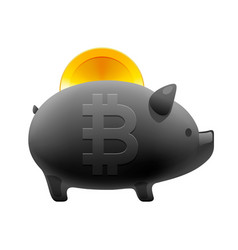 piggy money box icon with falling bitcoin vector image
