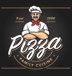 pizze emblem logo design vector image