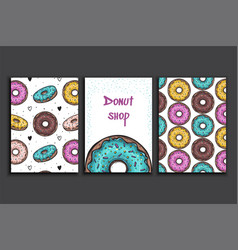poster template with donuts advertising vector image