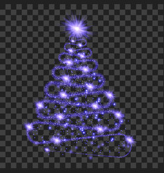 purple particle wave in form of christmas tree vector image