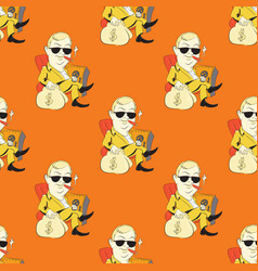 Quirky businessman seamless pattern vector