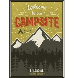 Retro travel typography poster with camping vector image