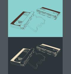 Retro vhs cassettes vector
