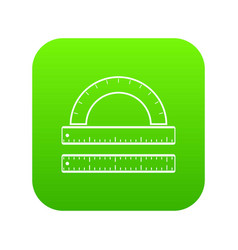 ruler and protractor icon digital green vector image