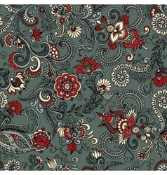 Seamless gray and red floral pattern vector