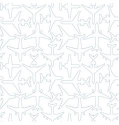 seamless pattern with outlines passenger airplanes vector image