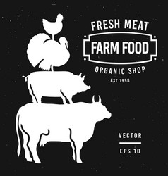 set butcher shop labels and design elements vector image