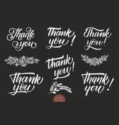 set hand drawn lettering thank you elegant vector image