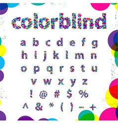 Set of Colorblind Style Font in Fresh trendy vector image