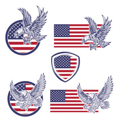 Set of the emblems with eagles on usa flag vector