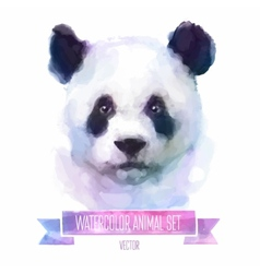 set of watercolor Cute panda vector image