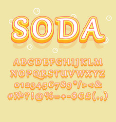 soda vintage 3d alphabet set vector image