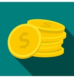 Stack of coin icon flat style vector