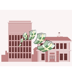 stacks of money flying vector image vector image