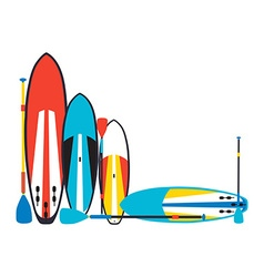 stand up paddle boards and paddles set i vector image