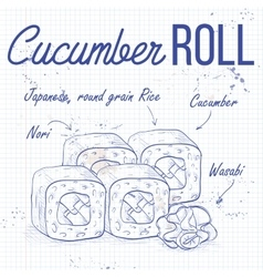 Sushi sketch Cucumber roll vector