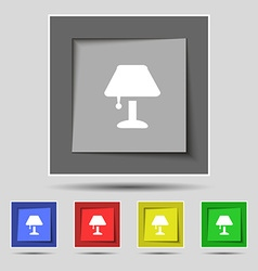 Table lamp Icon sign on original five colored vector