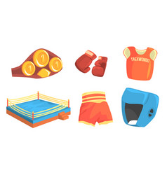 taekwondo sports equipment set head chest groin vector image
