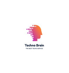 techno brain negative space logotype concept vector image