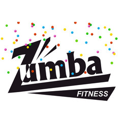 Text zumba for card colored confetti on white vector