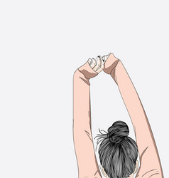 The girl is stretching her arms in bed vector
