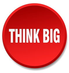 Think big red round flat isolated push button vector