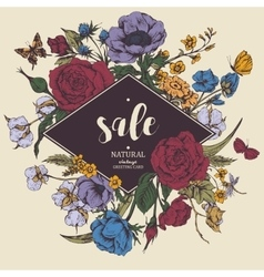 Vintage floral sale card with roses vector