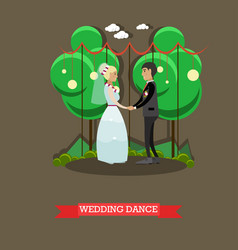 Wedding dance in flat style vector