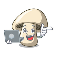 With laptop champignon mushroom character cartoon vector
