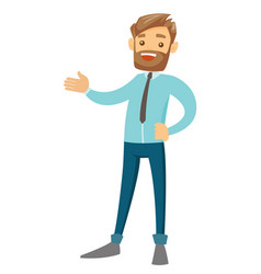 Young caucasian white businessman gesturing vector