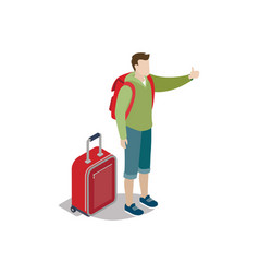 young tourist with backpack and travel bag vector image