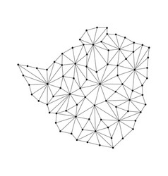 zimbabwe map of polygonal mosaic lines network vector image