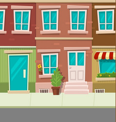 cartoon city typical town street house brick wall vector image